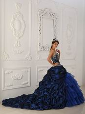 Chapel Train Skirt Dark Blue Quinceanera Dress Winter Wear