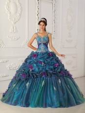 Spaghetti Straps Teal Quinceanera Dress With Handmade Flowers