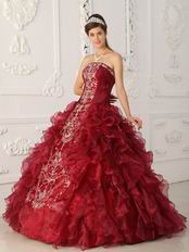 Bugundy Embroidered Quinceanera Gown Online Shop