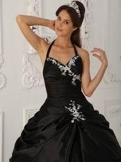 Black Halter Ball Skirt Quinceanera Young Women Wear