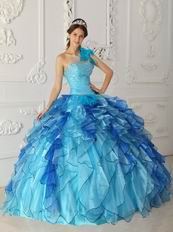 Multi Color Ruffled Cascade Skirt Sky Blue Quinceanera Dress