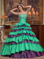 Spring Green And Purple Layers Skirt Quinceanera Dress