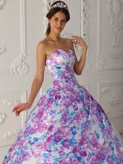 Top Quinceanera White Dress With Printed Fabric Decorate
