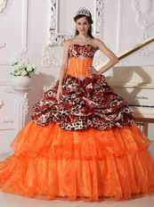Natural Sexy Deer Printed Pattern Quinceanera Dress Gown