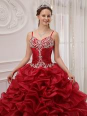 Wine Red Designer Quinceanera Dress With Spaghetti Straps