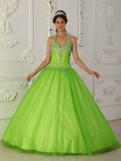 A-line Spring Green Tulle Quinceanera Dress By Designer