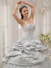 2014 new style corset flaring silver dress to quinceanera