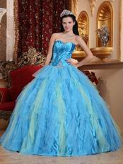 Strapless Aqua Puffy Skirt Top Winter Quinceanera Dress