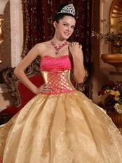 corset back ruffled skirt golden quinceanera military dress