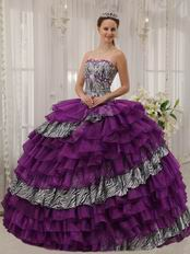 Purple And Zebra Fabric Layers Cascade Skirt Quinceanera Dress