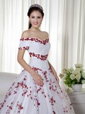 Short Sleeves Wine Red Leaves Appliqued White Quinceanera Dress
