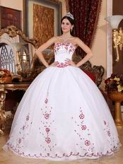 Brand New White Skirt Wine Red Details Quinceanera Dress