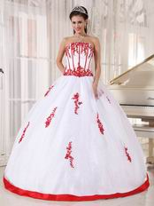 White Organza 16th Young Girl Dress With Scarlet Applique