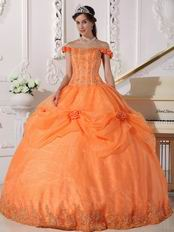 Off Shoulder Neckline Orange Organza Quinceanera Dress Cheap
