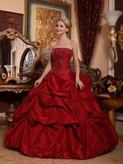 Strapless Floor Length Wine Red Bubble Quinceanera Gown