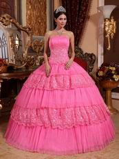 Hot Pink Sleeveless Layers Lace Skirt Quinceanera Dress