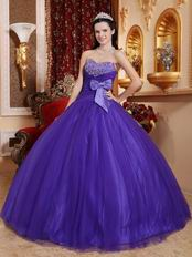 Bowknot Side Decorate Fashionable Amethyst Quinceanera Dress