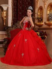 Appliqued Corset Back Scarlet Girls Birthday Quinceanera Dress