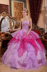 Deep Pink And Lilac Affordable Price Quinceanera Dress