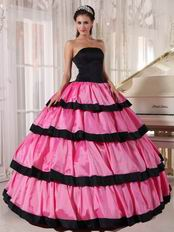 Rose Pink Layers Skirt With Black Bordure Quinceanera Dresses Gowns