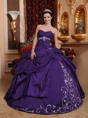 Sweetheart Embroidery Puffy Blue Violet Quinceanera Dress