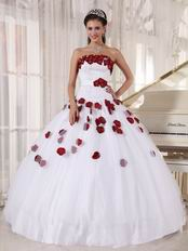 New Arrival White Quinceanera Gown With Wine Red Applique
