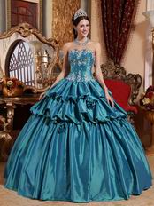 Teal Princess Ball Gown Prom Dress With Applique