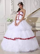 Wine Red Details Dama Quinceanera Dress In White