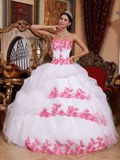 Pretty White Organza Quinceanera Gown With Pink Applique