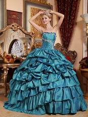 Teal Blue Cascade Layers Puffy Skirt Evening Ball Dresses