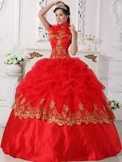Halter Scarlet Red Quinceanera Dress With Golden Applique