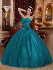 Dark Cyan Quinceanera Dress With Handmade Flower Side