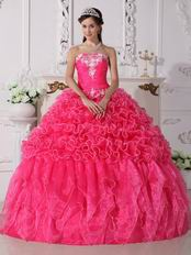 Elegant Hot Pink Quinceanera Party Dress Under 200 Pounds