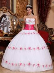 White Strapless Military Ball Dress With Fuchsia Emberllishmests