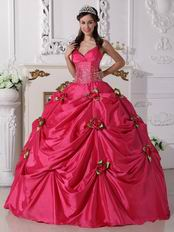 Deep Pink Quinceanera Dress With Spring Green Flowers Decorate