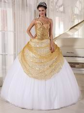 Spaghetti Straps White Skirt With Golden Sequin Sweet Sixteen Dress