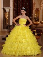 Strapless Where to Buy Winter Bright Yellow Quinceanera Dress