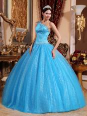 Single Shoulder Dodger Blue Tulle Military Quinceanera Dress