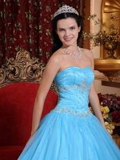 Strapless Aqua Blue Quinceanera Themes Dress Under 200 Dollars
