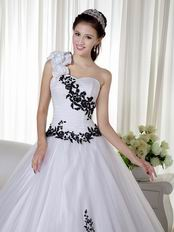 One Shoulder White Quinceanera Dress With Black Leaves Decorate