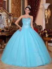 Aqua Blue 2014 Top 100 Military Quinceanera Dress