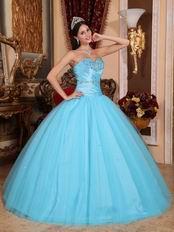 Aqua Blue 2018 Top 100 Military Quinceanera Dress For Puberty