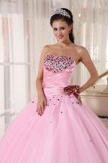 Strapless Baby Pink Quinceanera Dress With Beading