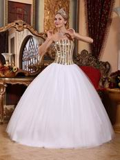 White Tulle Quinceanera Dress With Flaring Golden Sequin Bodice