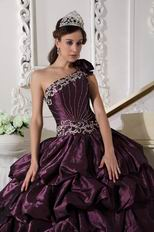 Dark Purple One Shoulder Puffy Quinceanera Dress Designer