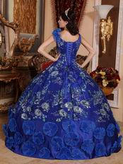Royal Blue Sequin Decorate Quinceanera Dress With Lotus Leaves