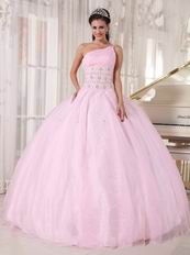 One Shoulder Baby Pink Corset Back Quinceanera Gowns Dress