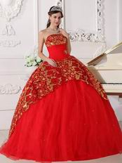 Scarlet Strapless Puffy Quinceanera Dress With Sequin Decorate