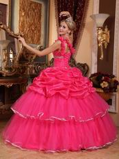 One Shoulder Pick-ups Technology Hot Pink Quinceanera Dress