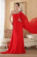One Shoulder Watteau Train Red Prom Dress With Beading